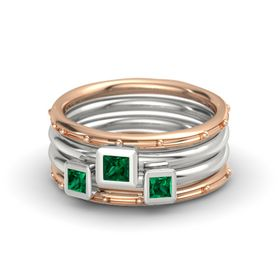 Princess Emerald 14K Rose Gold Ring with Emerald