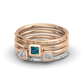 Princess London Blue Topaz 14K Rose Gold Ring with Diamond