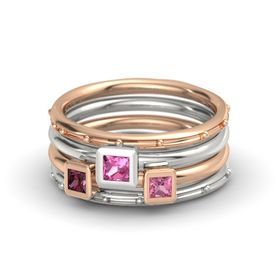Princess Pink Tourmaline 14K Rose Gold Ring with Pink Tourmaline and Rhodolite Garnet