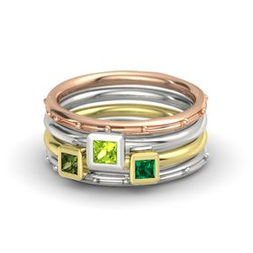 Princess Peridot 14K Rose Gold Ring with Emerald and Green Tourmaline