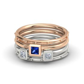 Princess Blue Sapphire 14K Rose Gold Ring with Diamond