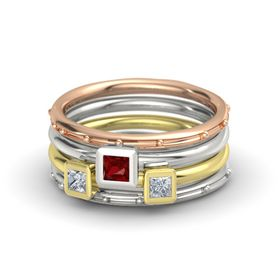 Princess Ruby 14K Rose Gold Ring with Diamond