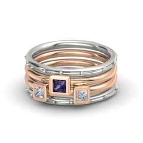 Princess Iolite 14K White Gold Ring with Diamond