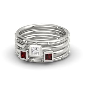 Princess White Sapphire 14K White Gold Ring with Red Garnet