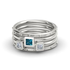 Princess London Blue Topaz 14K White Gold Ring with Diamond