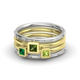Princess Green Tourmaline 14K White Gold Ring with Peridot and Emerald