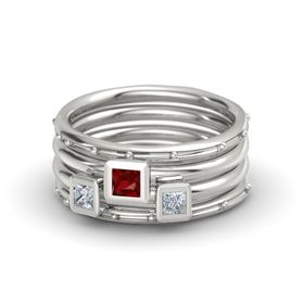 Princess Ruby 14K White Gold Ring with Diamond
