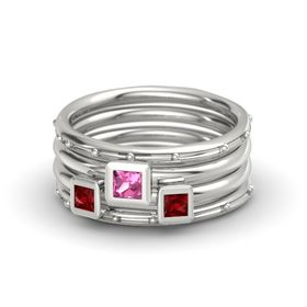 Princess Pink Tourmaline 14K White Gold Ring with Ruby