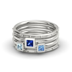 Princess Blue Sapphire 14K White Gold Ring with Blue Topaz and Aquamarine
