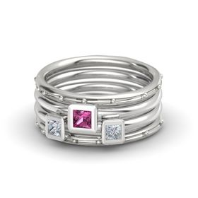Princess Pink Sapphire 14K White Gold Ring with Diamond