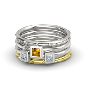 Princess Citrine 14K White Gold Ring with Diamond