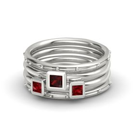 Princess Red Garnet 14K White Gold Ring with Ruby