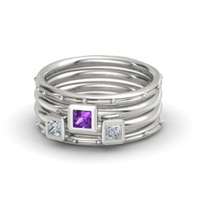 Princess Amethyst 14K White Gold Ring with Diamond