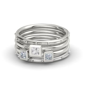 Princess White Sapphire 14K White Gold Ring with Diamond