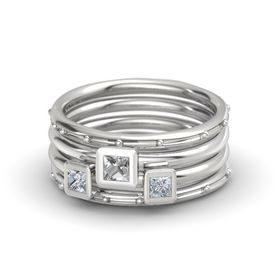 Princess Rock Crystal 14K White Gold Ring with Diamond