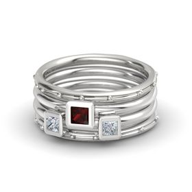 Princess Red Garnet 14K White Gold Ring with Diamond