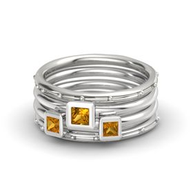 Princess Citrine 14K White Gold Ring with Citrine
