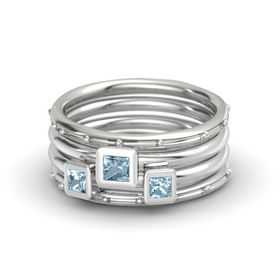 Princess Aquamarine 14K White Gold Ring with Aquamarine