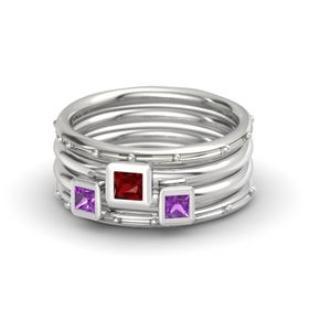 Princess Ruby 14K White Gold Ring with Amethyst