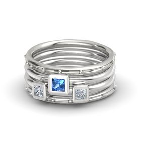 Princess Blue Topaz 14K White Gold Ring with Diamond
