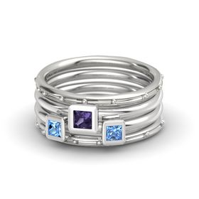 Princess Iolite 14K White Gold Ring with Blue Topaz