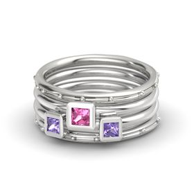 Princess Pink Tourmaline 14K White Gold Ring with Iolite
