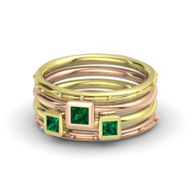 Princess Emerald 14K Yellow Gold Ring with Emerald
