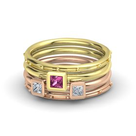 Princess Pink Sapphire 14K Yellow Gold Ring with Diamond