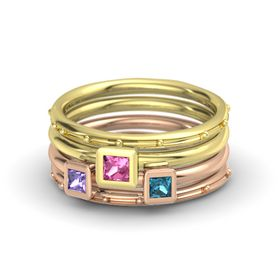 Princess Pink Tourmaline 14K Yellow Gold Ring with London Blue Topaz and Iolite