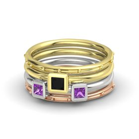 Princess Black Onyx 14K Yellow Gold Ring with Amethyst