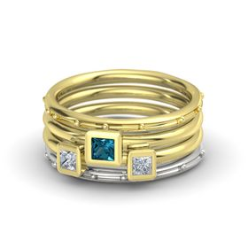 Princess London Blue Topaz 14K Yellow Gold Ring with Diamond