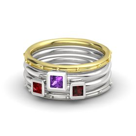 Princess Amethyst 14K Yellow Gold Ring with Red Garnet and Ruby