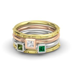 Princess White Sapphire 14K Yellow Gold Ring with Emerald and Green Tourmaline