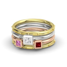 Princess White Sapphire 14K Yellow Gold Ring with Ruby and Pink Sapphire
