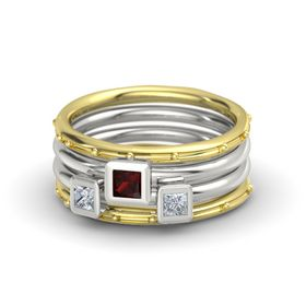 Princess Red Garnet 14K Yellow Gold Ring with Diamond