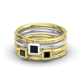 Princess Black Onyx 14K Yellow Gold Ring with Black Diamond