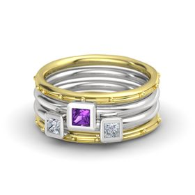 Princess Amethyst 14K Yellow Gold Ring with Diamond