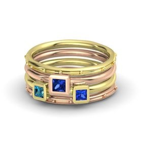Princess Blue Sapphire 14K Yellow Gold Ring with Blue Sapphire and London Blue Topaz
