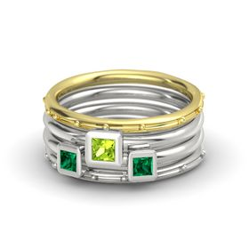 Princess Peridot 14K Yellow Gold Ring with Emerald