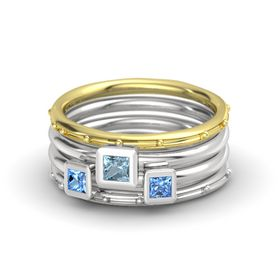Princess Aquamarine 14K Yellow Gold Ring with Blue Topaz