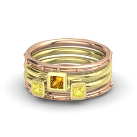 Princess Citrine 18K Rose Gold Ring with Yellow Sapphire