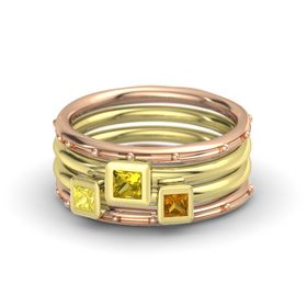 Princess Yellow Sapphire 18K Rose Gold Ring with Citrine and Yellow Sapphire