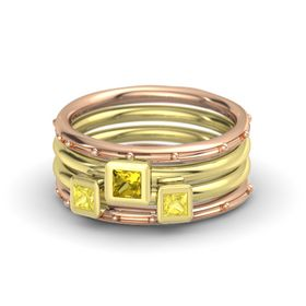 Princess Yellow Sapphire 18K Rose Gold Ring with Yellow Sapphire