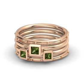 Princess Green Tourmaline 18K Rose Gold Ring with Green Tourmaline