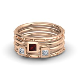 Princess Red Garnet 18K Rose Gold Ring with Diamond