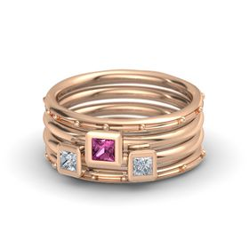 Princess Pink Sapphire 18K Rose Gold Ring with Diamond