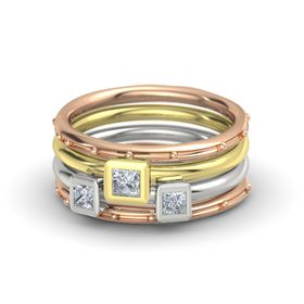 Princess Diamond 18K Rose Gold Ring with Diamond