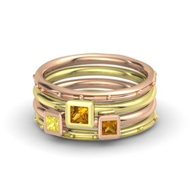 Princess Citrine 18K Rose Gold Ring with Citrine and Yellow Sapphire