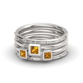 Princess Citrine 18K White Gold Ring with Citrine