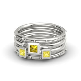 Princess Yellow Sapphire 18K White Gold Ring with Yellow Sapphire